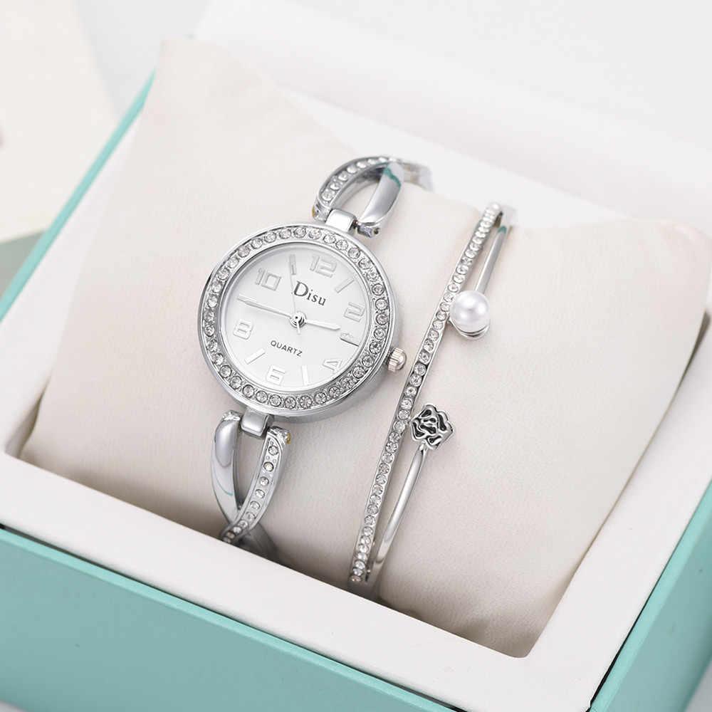 العلامة التجارية الفاخرة سوار ساعة النساء الساعات 3 قطعة تناسب المعادن الصلب قطاع حجر الراين اللؤلؤ السيدات كوارتز ساعة اليد ساعة هدية