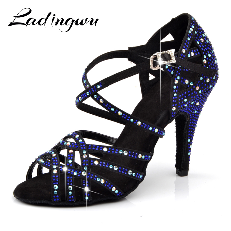 Ladingwu Brand Latin Dance Shoes Woman's Three Colors Big Small Rhinestone Ballroom Dance Shoes Party Wedding Zapatos De Mujer