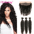 Malaysian Deep Wave With Closure 13x4 Ear To Ear Lace Frontal Closure With Bundles Malaysian Curly Hair 3 Bundles With Closure