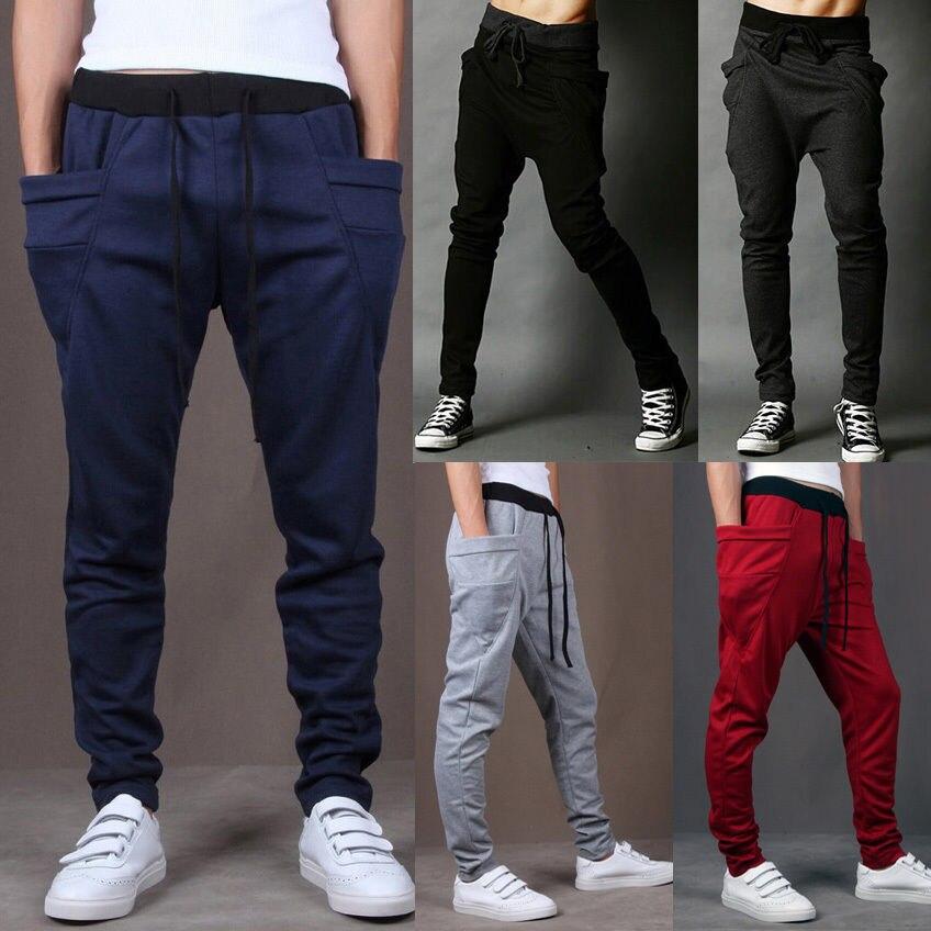 Men\'s Casual Jogger Dance Sportwear Baggy Harem Pa...