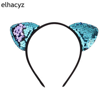 1PC New Double Sides Reverse Glitter Sequins Cat Ear Hairband Headband Sexy Flip Women DIY Hair Accessories For Kids Mermaid