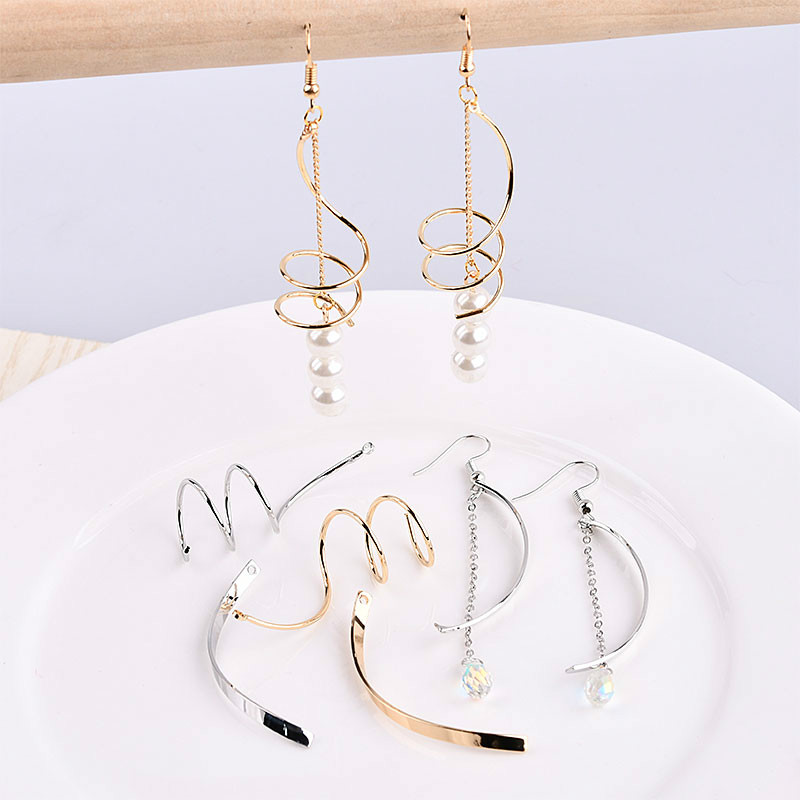 Temperament Simple Fashion Curve Round Personality Geometric Earring Accessories DIY Handmade Earring Earrings Material