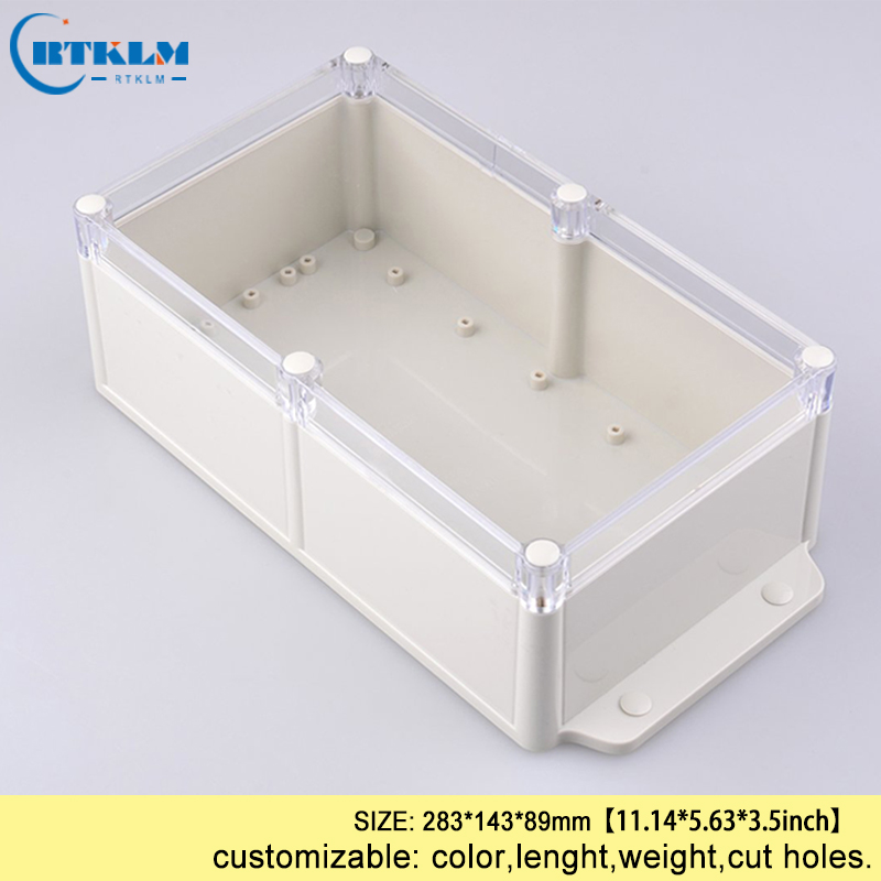Plastic diy case electronic junction box wall mounting waterproof plastic enclosure abs instrument outdoor box 283*143*89mm IP68 ip65 300x270x112mm waterproof junction box plastic project box electrical connector terminal outdoor enclosure box wall mounting