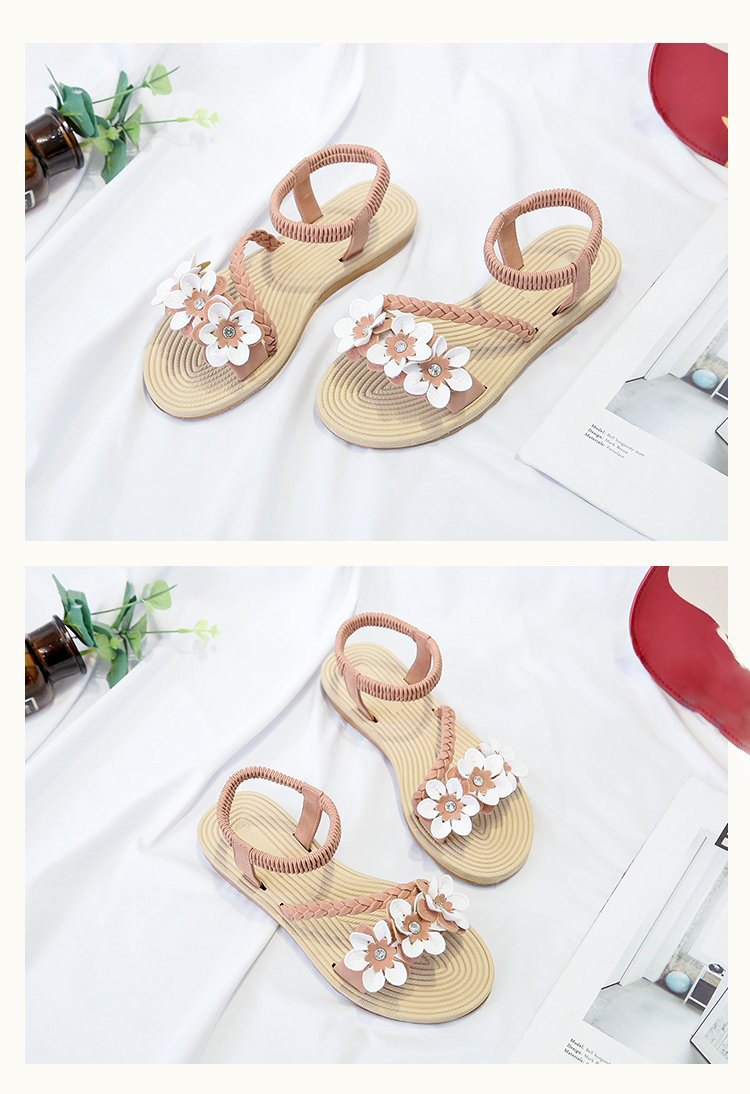 HTB1PzduSNTpK1RjSZFMq6zG VXaB - Summer Shoes Woman Sandals Elastic ankle strap Flat Sandalias Mujer Flowers Gladiator Beach Sandals Ladies Flip Flops