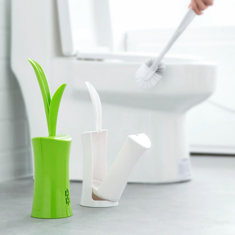Creative Grass Shape Toilet Brush Cleaning Kit Home Bathroom Cleaning Supplies Fashion Removable Plastic Long Handle Brush