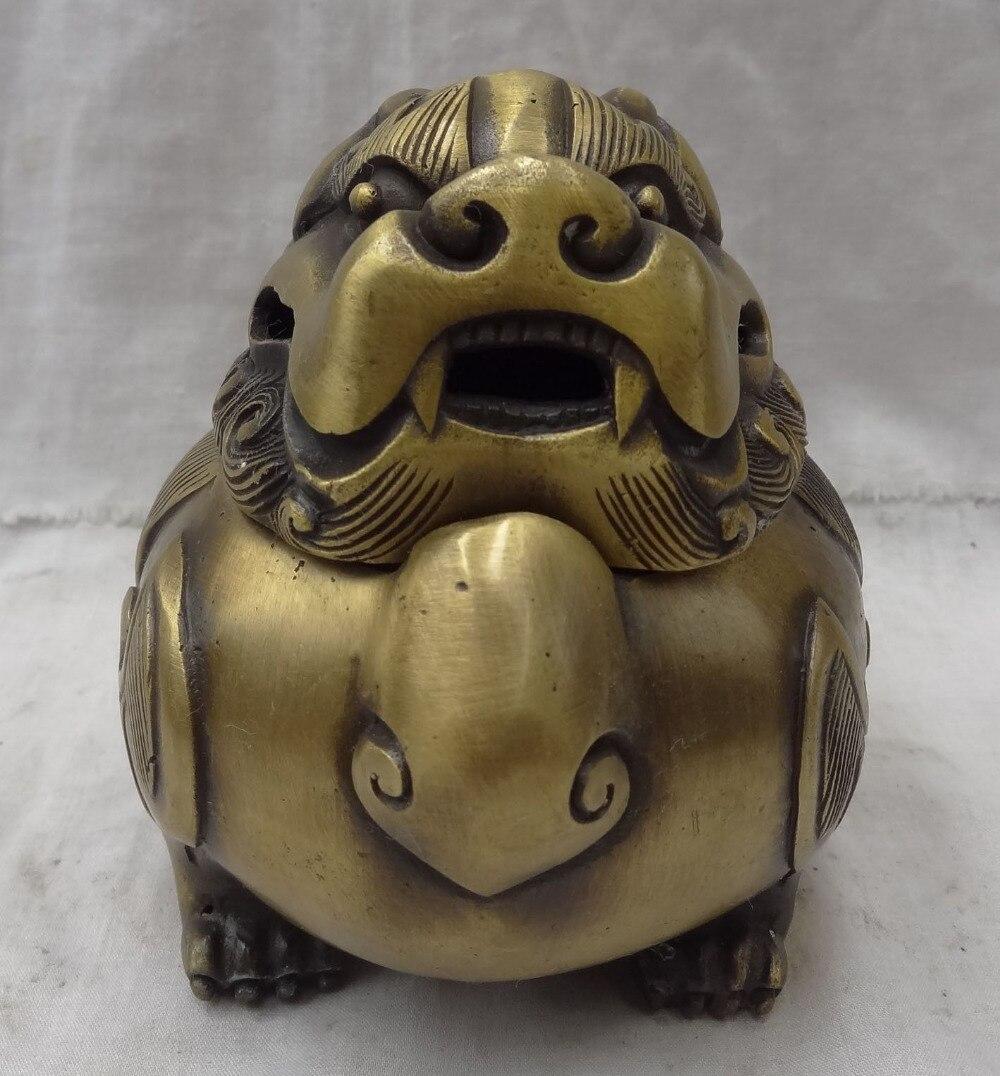 Bi002123 chinois pur Bronze Drgaon Lion PiuXiu tête Statue boîte encensoir brûleur d'encens
