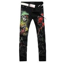 2017 новая мода прямой ногой джинсы длинные мужчины мужской печатные джинсовые брюки прохладный хлопок дизайнер хорошее качество бренда брюки MJB016