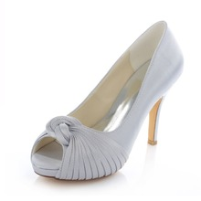 Plissee knoten elfenbein weiß silber champagner plattform hochzeit braut hochzeit schuhe 10 CM high heels stilettos 521-24F ZHL