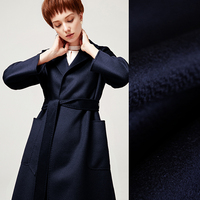 150CM Wide 850G/M Weight Thick Double Faced Dark Blue Water Wave Cashmere Wool Fabric for Autumn and Winter Overcoat Jacket E612