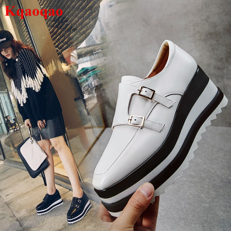 Hot Brand Wedges Women Casual Shoes Low Top Leather Metal Buckle Decor Flatform Shoes Height Increasing Square Toe Zapatos Mujer cangma italy deluxe brand women men casual golden shoes zebra silver genuine leather low sstar smile goose shoes zapatos mujer