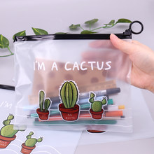 Cactus PVC Waterproof Pencil Cases Transparent Stationery A5 File Folder Storage Office School Supplies Pencil Bags for Girls(China)