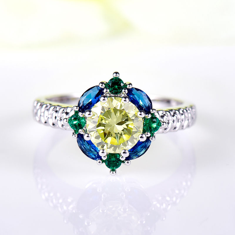 Free Shipping Light Green Amethyst  Silver 925 Ring Size 6 7 8 9 10 Fashion Jewelry Gift women wholesale