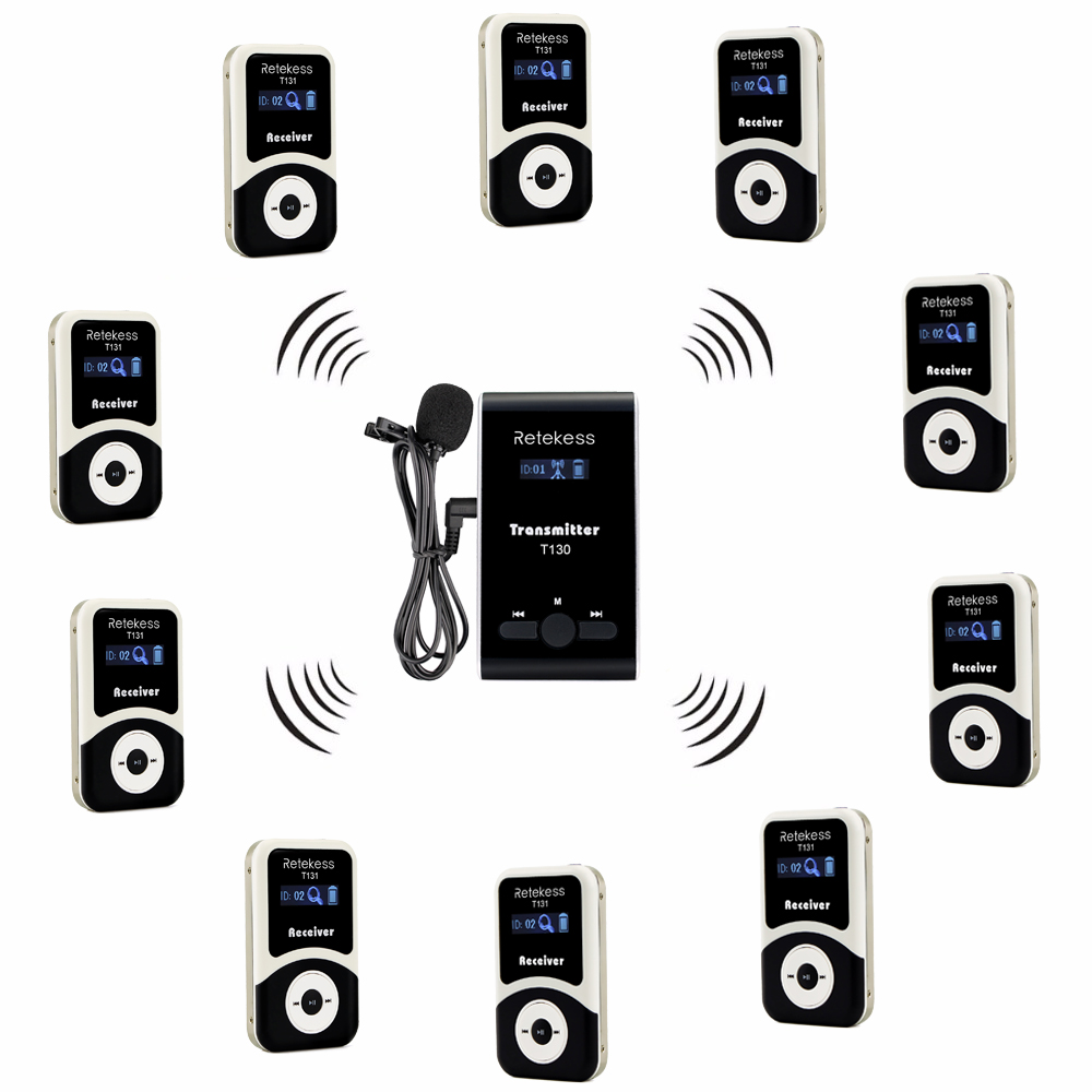 Retekess Wireless Tour Guide System 1 Transmitter+10 Receiver+Mic for Tour Guiding Simultaneous Translation Interpretation F4508 недорго, оригинальная цена