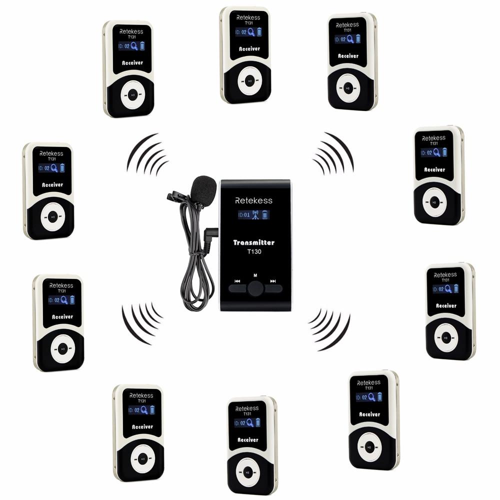 Retekess Wireless Tour Guide System 1 Trasmettitore + Ricevitore + Mic per Tour di Guida 10 Interpretazione di Traduzione Simultanea F4508