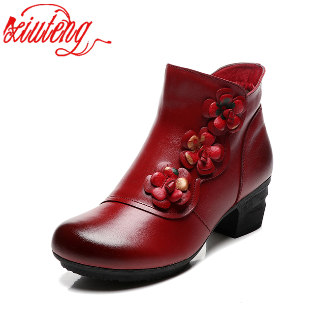 Xiuteng New Cow Leather Ankle Boots Women Shoes Genuine Leather Winter Boots Soft Flower Comfortable Warm Spare Heel Boots