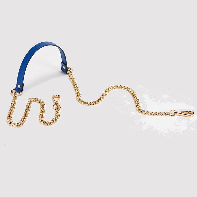 110cm*1.9cm Genuine Leather + Long Gold Chain Thin Shoulder Strap Women Shoulder Messenger Bag Strap Belt