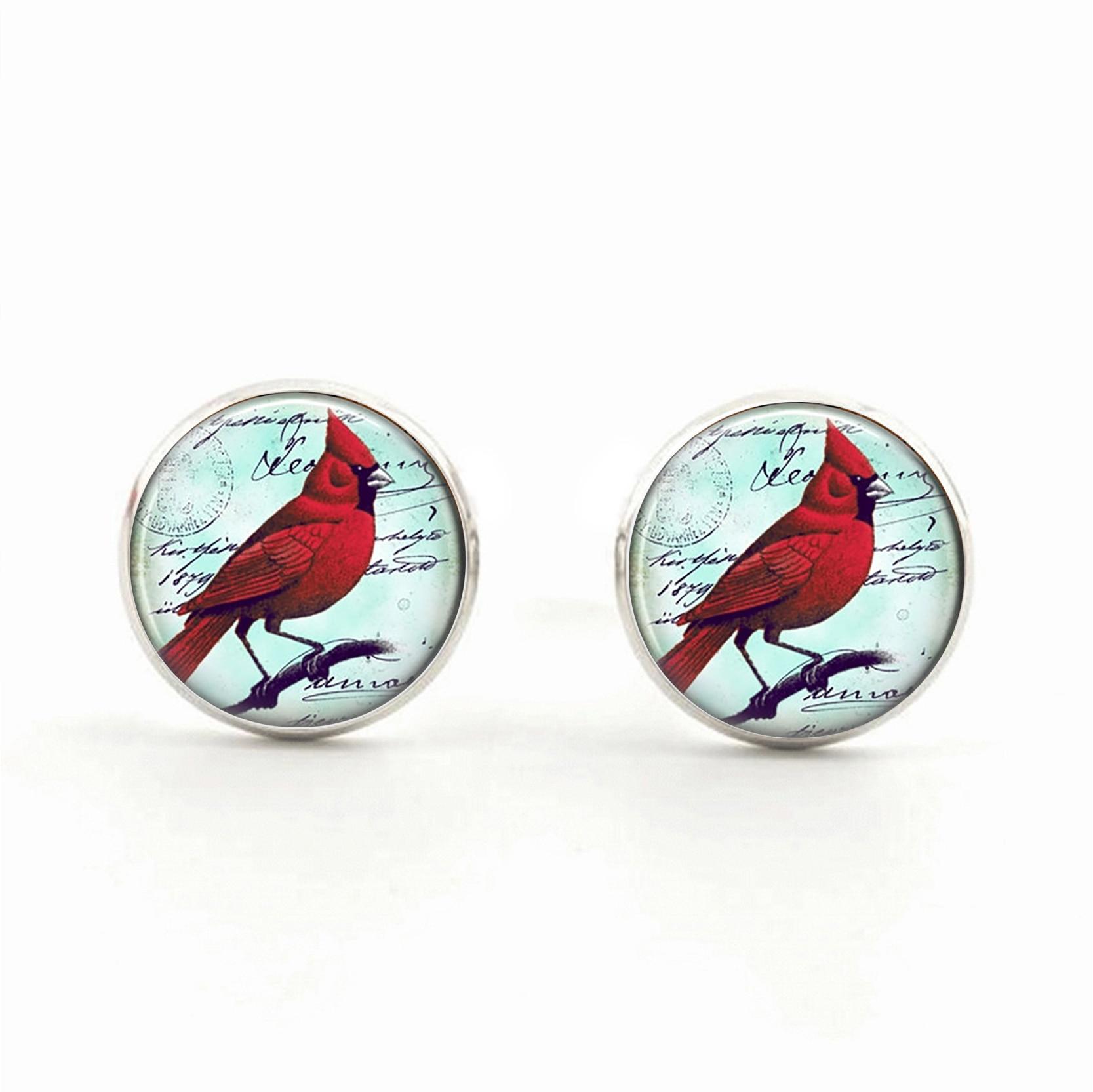 Red parrot jewelry stud earrings cardinal bird
