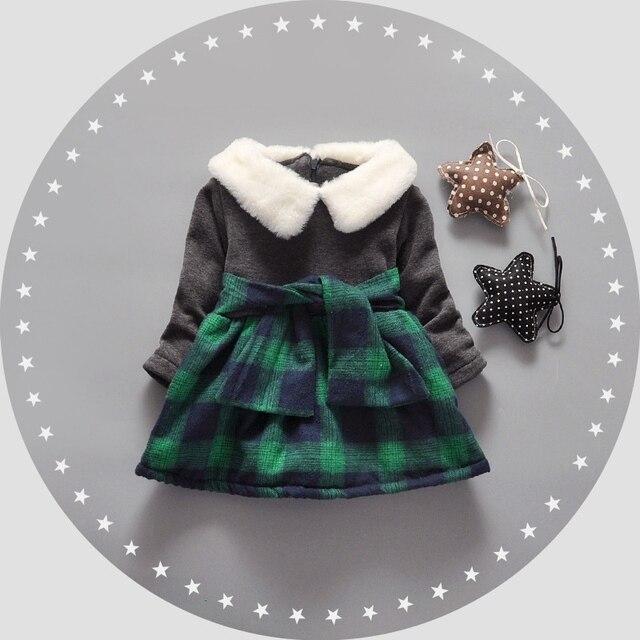 Autumn Warm Winter Long Sleeve Baby Infants Children Girls Kids Velvet Plaided Patchwork Thicken Princess Dress Vestidos S4264