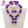 Africano Púrpura Perlas Joyería Nupcial Conjunto 2017 Mujeres de La Manera de La Joyería Hecha A Mano Collar de Los Granos de Nigeria Set Envío Libre GS899