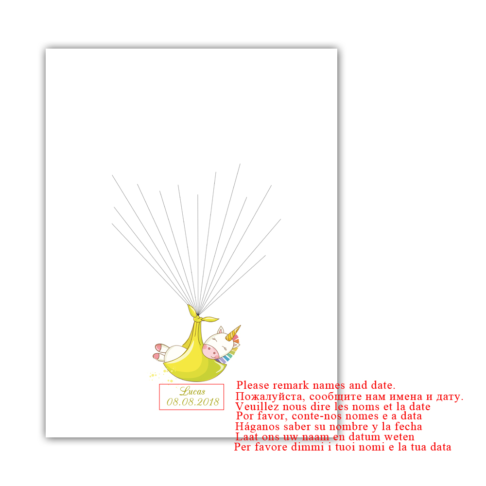 Eenhoorn In Inbakeren, Gratis Custom Naam Datum Vingerafdruk Handtekening Gastenboek Voor Baby Douche Doop 1st Communie, met inkt pad