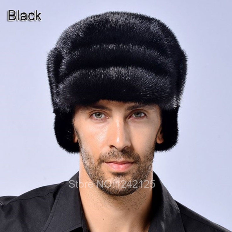 New parent-child men boy kids female winter noble warm Luxury real genuine leather Whole Mink fur Earmuff ear Outdoor hats caps hm039 real genuine mink hat winter russian men s warm caps whole piece mink fur hats