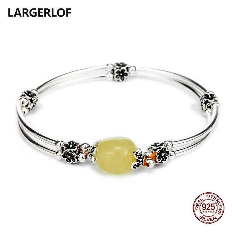 Bracelet LARGERLOF argent 925 Bracelets en ambre naturel femmes bijoux fins bracelet en argent 925 pour breloques BR50120