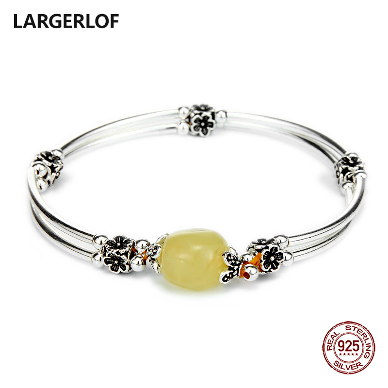 LARGERLOF Bracelet Silver 925 Natural Amber Bracelets Women Fine Jewelry 925 silver bracelet for charms BR50120 4 6mm natural garnet wrap bracelet silver red wine charms bracelet round beads bracelets for women