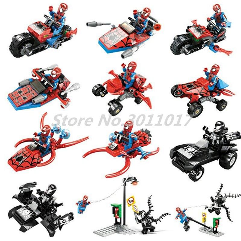 New 6 in 1 Super Hero Spiderman Building Blocks Spider Man Motorcycle Spider-Man Venom Set KAZI 60011 Toys For Children super junior world tour in seoul super show 6 special photobook release date 2016 01 08 kpop