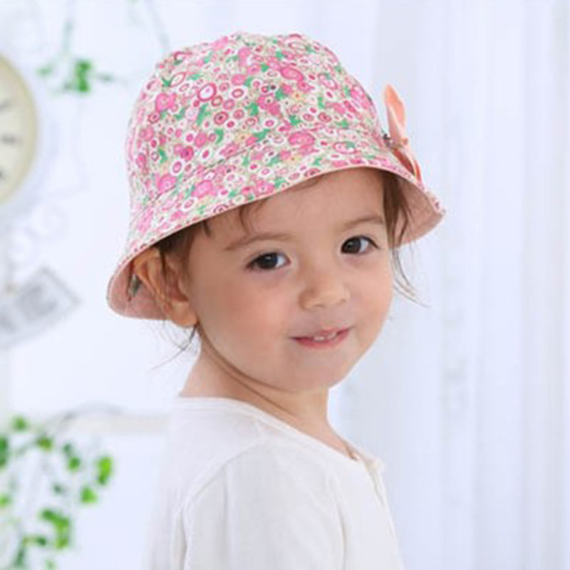 14f2d6e5 Summer Baby Girls Sun Hat Cotton Baby Hat Kids Child Cap Bowknot Flower  Print Bucket Hat Double Sided Can Wear