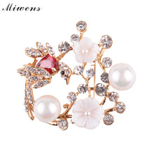 Miwens Luxury Multicolored Wedding Jewelry Simulated Pearl Flowers Brooches Clip Scarf Shoulder Women Girls Cute Charm 10695