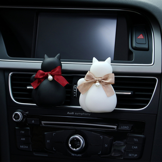 Car Perfume Clip Silhouette Cat Bow Tie Fragrance Freshener Air Vent Auto Outlet Decoration Accessories Trim Adornment Gifts