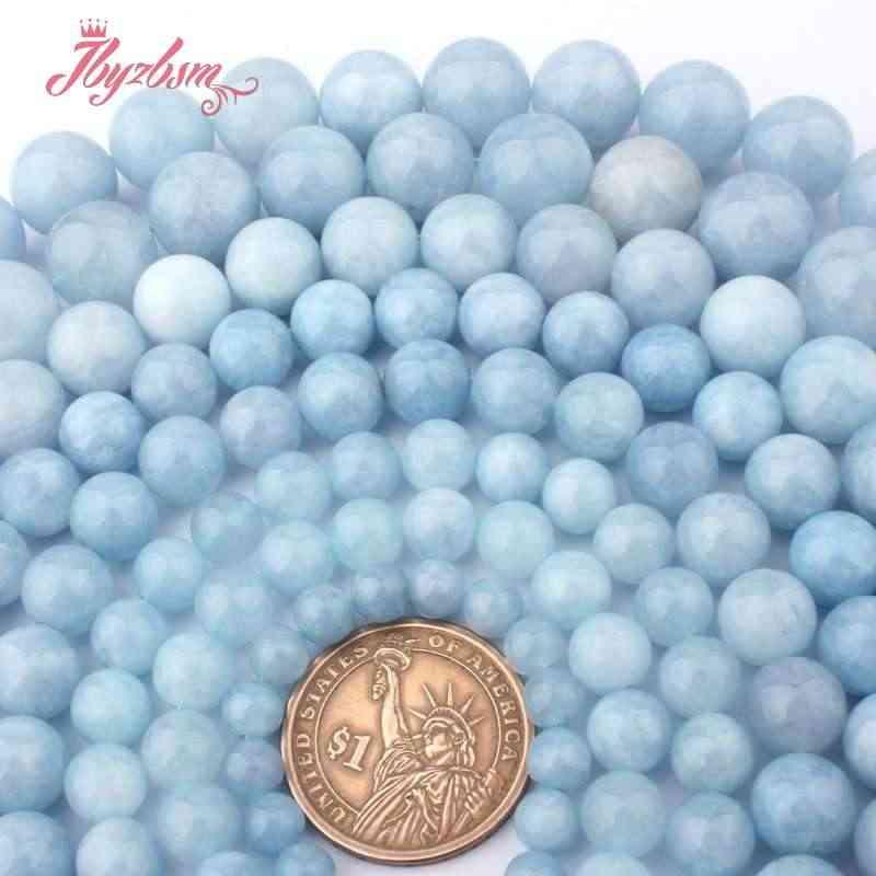 """6 8 10 12 14mm okrągłe koraliki Aquamarines Jades gładkie luźne kamień koraliki na naszyjnik bransoletka DIY kobiety prezent tworzenia biżuterii 15"""""""