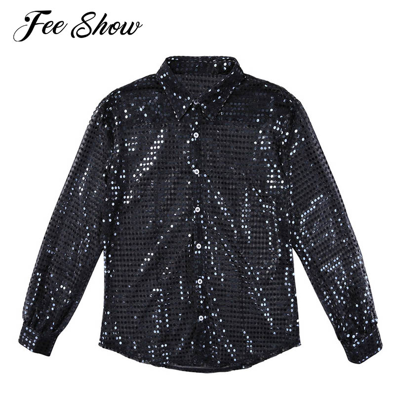 Feeshow Mens Fashionable Shiny Sequins See Through Mesh Shirt Clubwear Long Sleeves Loose Fit Party Dance Performance Tops Shirt