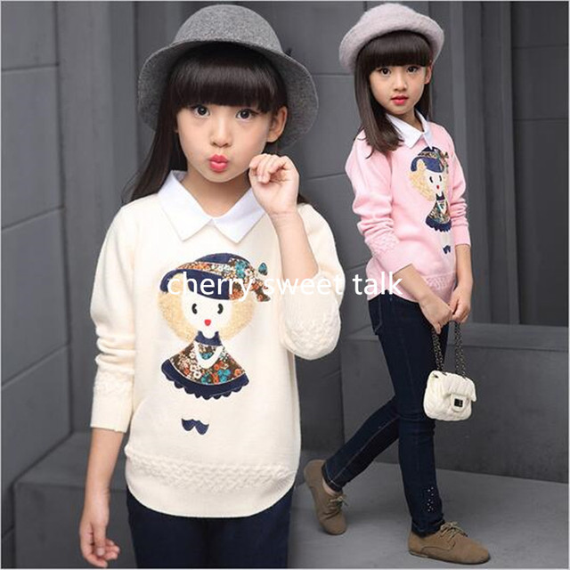 Autumn new girl children knitwear fashion cartoon patch knitting sweater child leisure holiday 2 computer knit shirt