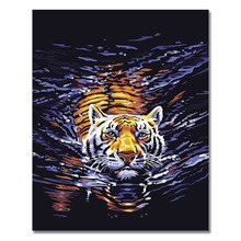 RIHE Swimming Tiger Drawing By Number DIY Deep Water Painting Handwork Cuadros Decoracion Oil Art Coloring Home Decor