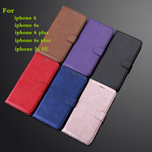 For Iphone 5s Se Case Business Solid Color Leather Iphone 5 Magnetic Stander Iphone5 Luxury Wallet Crd Slot Retro Pu I5 I5s Case matte surface wallet leather magnetic case w lanyard for iphone 5s 5 black