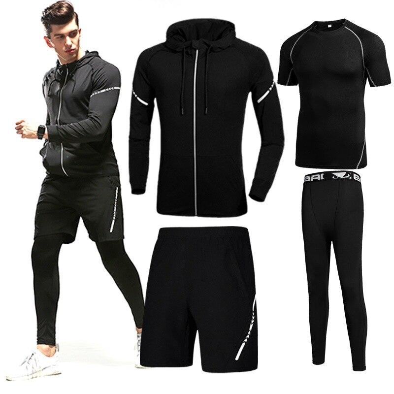 男性のジムトレーニングスポーツウェアスーツ圧縮服フィットネスアスレチック物理ワークアウトラッシュランニングジョギングスポーツ服  グループ上の スポーツ & エンターテイメント からの ランニングセット の中 1