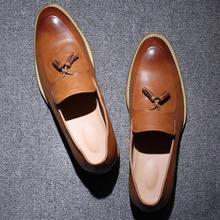 Men Shoes High Quality Leather Men Loafers Shoes Vintage Tassel Leather Men Slip On Shoes Mocassin Homme Delocrd