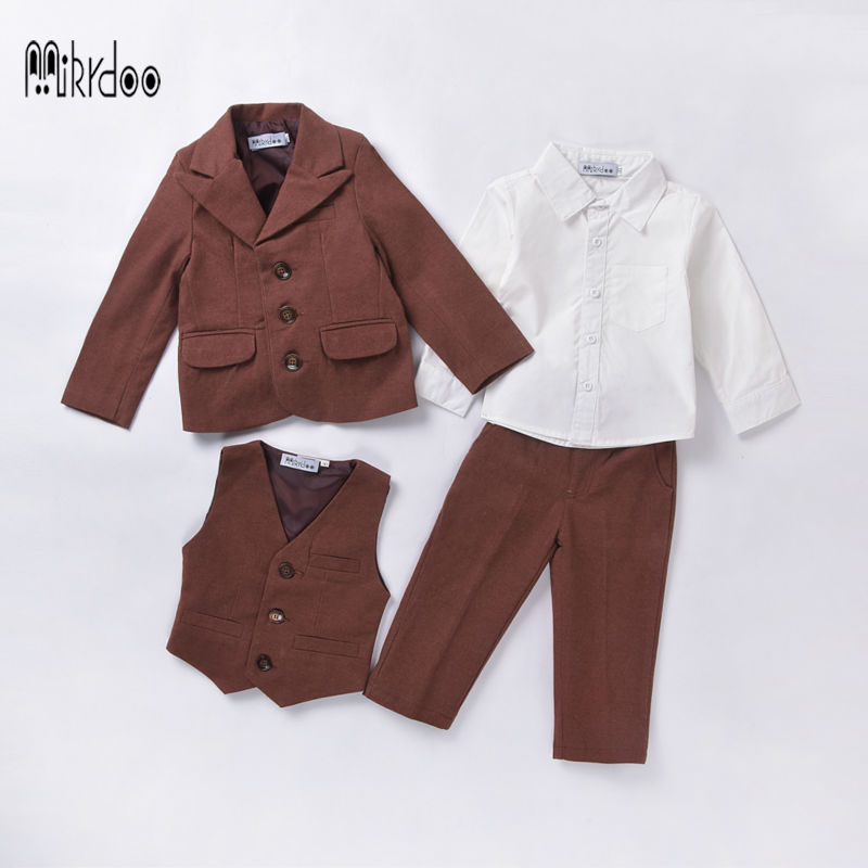 Baby boy clothes kids blazers tuexdo formal suit wedding terno coat shirt vest pants gentleman clothing set children costume hot 2016 new arrival fashion baby boys kids blazers boy suit for weddings prom formal wine red white dress wedding boy suits