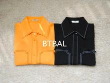 Ladies 100% silk orange color block women long sleeve  blouses women shirt spring autumn