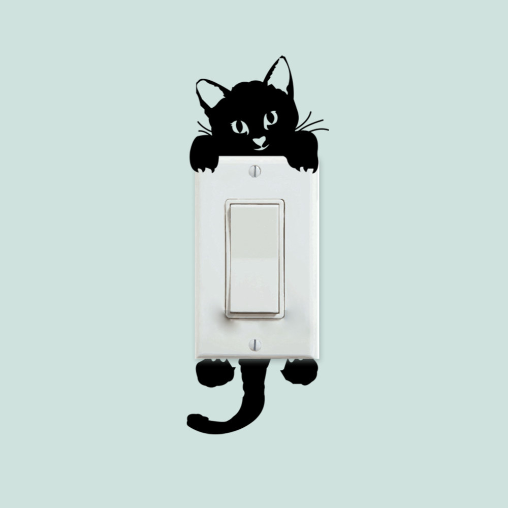 Free Shipping DIY Funny Lovely Black Cat Switch Sticker Wallpaper Wall Decal Home Decor Kids Room Light Parlor Decor Mural Y-246