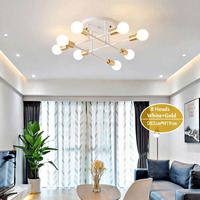 Smuxi 6/8 Head LED Industrial Iron Ceiling Light Living Room Lighting Nordic 220V E27 LED Lamp
