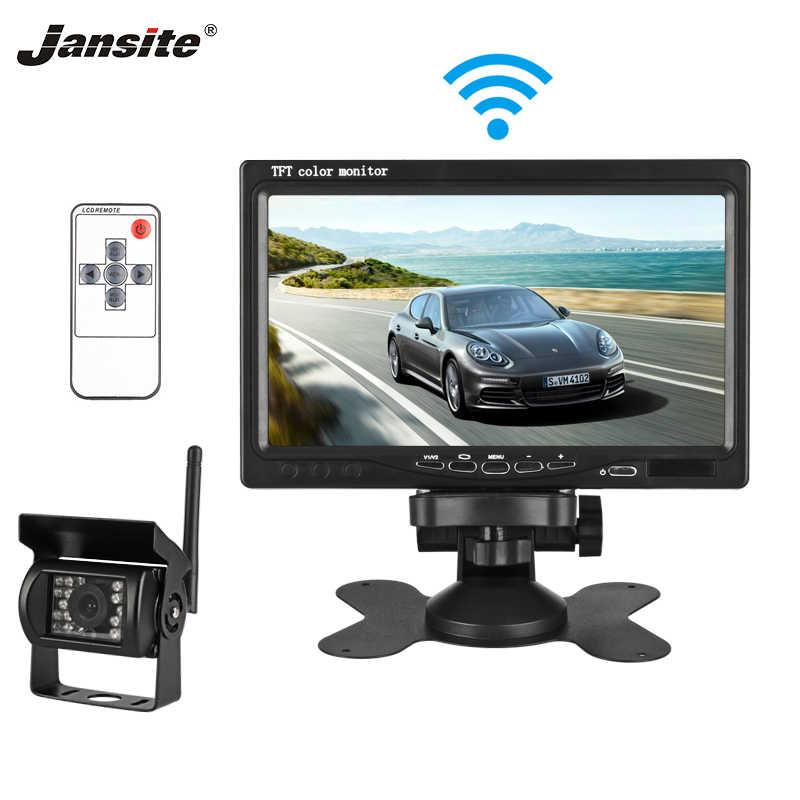 Jantite 7 pulgadas TFT LCD Monitor de coche versión inalámbrica HD pantalla cámara de asistencia inversa Cámara Paking System 18IR Cámara LED