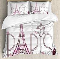 Париж Город Декор постельное белье башня Eiffels с Париж надписи иллюстрации пара поездки цветы цветочный изысканную Постельное белье