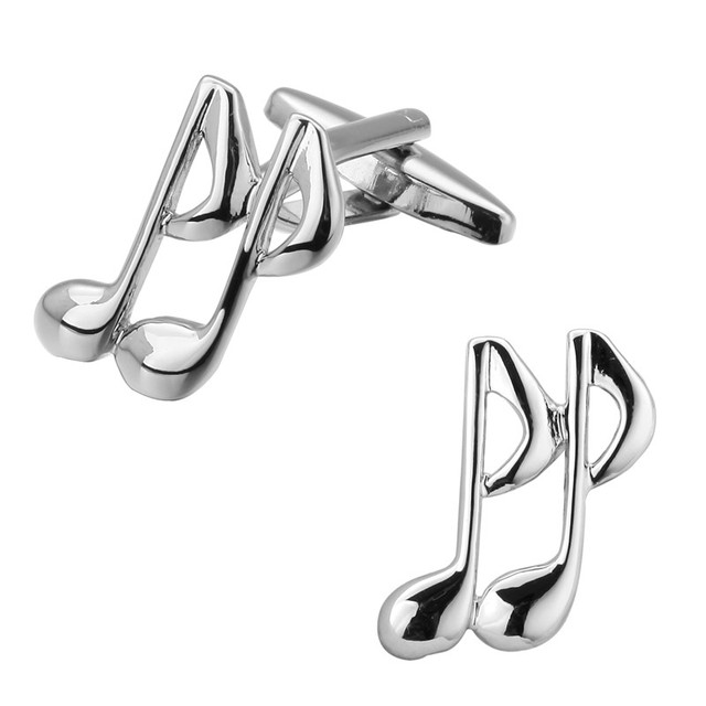 A Pair Of High Quality Silver Cufflinks Music Symbols Musicians Rock