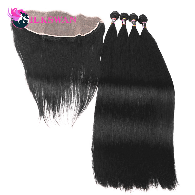 Silkswan straight Brazilian hair 3 bundles with lace frontal 13x4 Remy hair extension transparent lace 10 28 inch-in 3/4 Bundles with Closure from Hair Extensions & Wigs    1