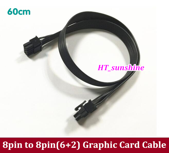 50PCS / 100PCS Free Shipping 60CM PCIe PCI-E PCI Express 8Pin Male to 8(2+6)Pin Male Power Cable Cord 6+2pin Magic Port free shipping atx pci e pci express pcie 6pin to 5pcs dc 5 5x2 1mm plugs of gridseed mini 60cm power cord cable