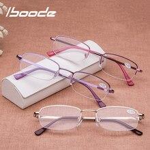 Iboode Anti-gafas de lectura para vista cansada los hombres y las mujeres pequeño Simple marco de lectura gafas de Metal ligero gafas de presbicia Feminino