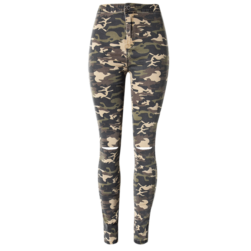 2017 New Military Camouflage ripped Jeans women Elastic high waist pencil pants Fashion Skinny Trousers women Jeans Plus Size 2017 new fashion plus size women high waist pencil jeans pants fit lady jeans plus size sexy slim elastic skinny pants trousers