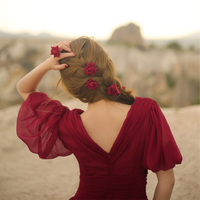 LYNETTE'S CHINOISERIE Summer Original Design Women Royal Vintage Puff Sleeve Flowing Red Dresse